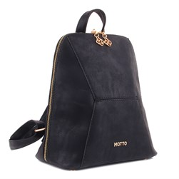 Moxee - Matte Black Color Vegan Leather Womens Backpack