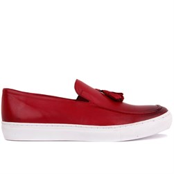 Claret Red Genuine Leather Mens Sneaker