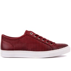 Claret Red Leather Mens Sneaker