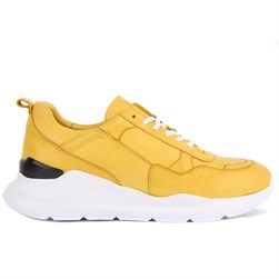 Yellow Genuine Leather Mens Sneaker