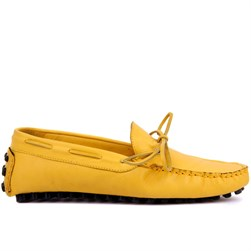 Yellow Genuine Leather Mens Shoes